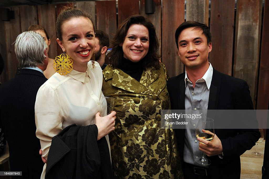 Choreographer Michelle Dorrance, Toby Boshak, Executive Director at Princess Grace Foundation-USA and choreographer Thang Dao attend the Kick Off Event for the Princess Grace Foundation - USA Guild, For Emerging Theatre, Dance & Film Artists at Blue Ribbon Kanpai Garden, Thompson LES Hotel on March 19, 2013 in New York City.