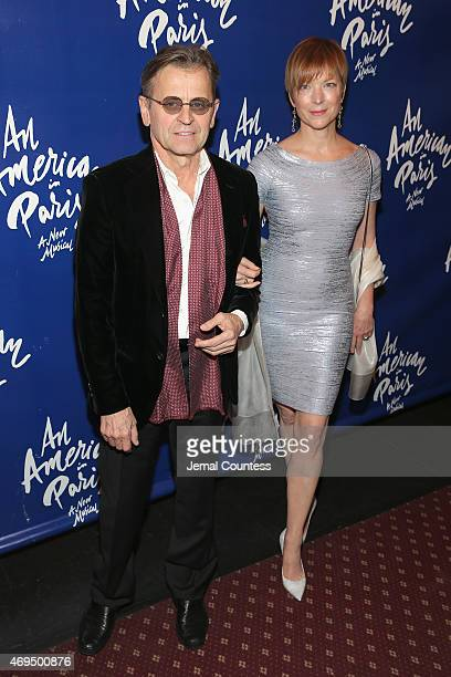 Choreographer Mikhail Baryshnikov and former ballerina Lisa Rinehart attend 'An American In Paris' Broadway opening night at Palace Theatre on April...
