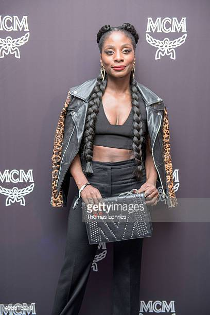 Choreographer Nikeata Thompson wearing 'Diamond Disco' bag attends the MCM Space Odyssey Event at Frankfurt Opera Store with the 'Diamand Disco' bag...