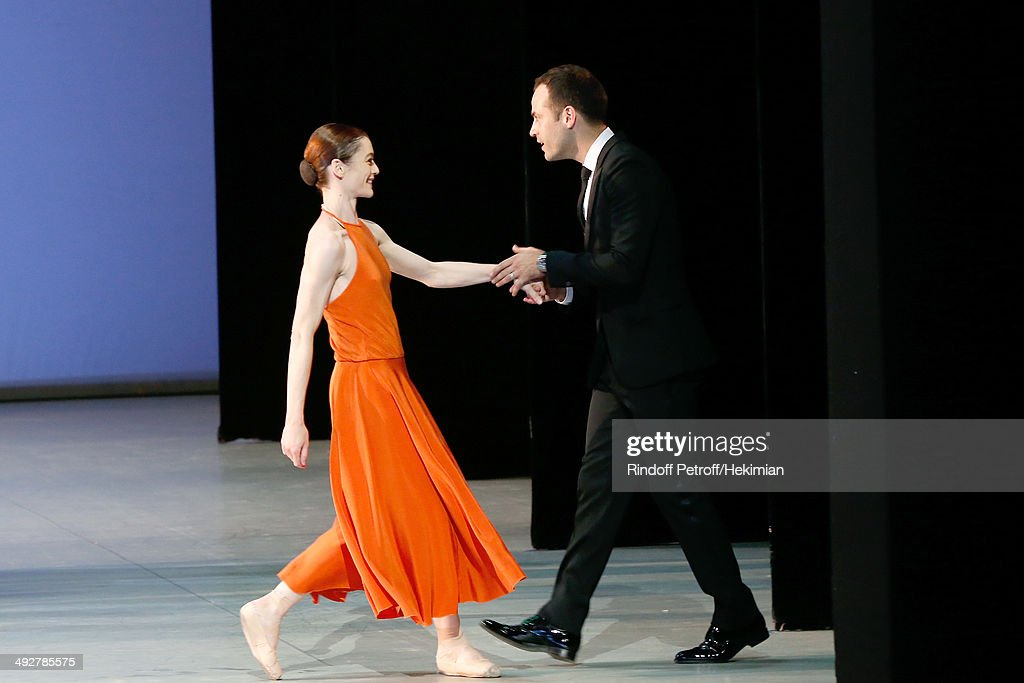 Choreographer of the show and new director of the Opera Benjamin Millepied and Star Dancer Aurelie Dupont who performed in 'Daphnis et Chloe' show at the AROP Charity Gala. Held at Opera Bastille on May 21, 2014 in Paris, France.