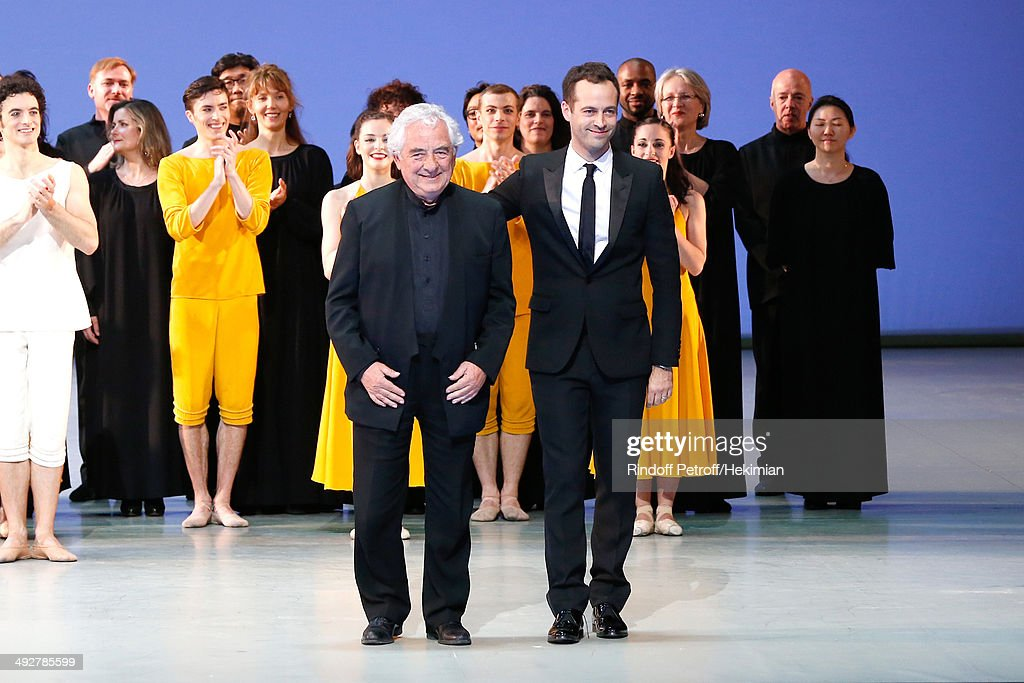 Choreographer of the show and new director of the Opera Benjamin Millepied (R) and Contemporary Artist and creator of sets of the show Daniel Buren attend the AROP Charity Gala. Held at Opera Bastille on May 21, 2014 in Paris, France.