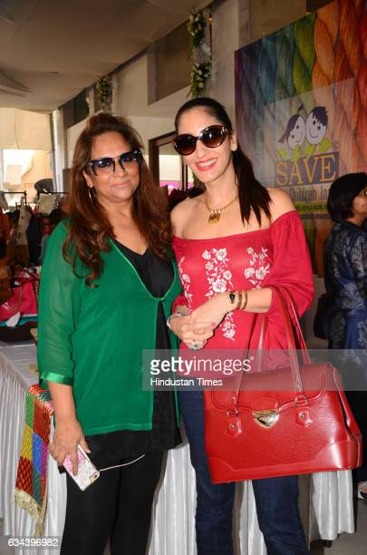 Choreographer Sharmila Khanna and Jewellery designer Farah Khan Ali during a Charity exhibition Araaish organised by Mana Shetty wife of actor Suniel...