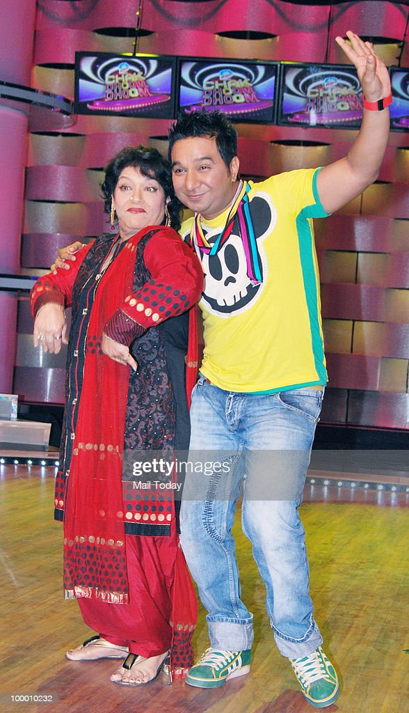 Choreographers Ahmed Khan and Saroj Khan on the sets of the show Chak Dhoom Dhoom in Mumbai on May 18, 2010.