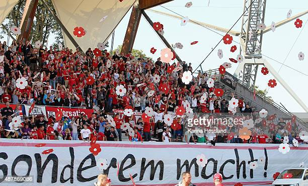 Choreography by the Fans of Erfurt during the Third League match between FC Rot Weiss Erfurt and FC Erzgebirge Aue at Steigerwaldstadion on September...