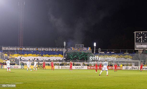Choreography by the Fans of Jena during the DFB Cup between FC Carl Zeiss Jena and VFB Stuttgart at ErnstAbbeSportfeld on October 28 2015 in Jena...