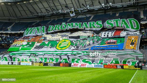 Choreography from supporters of Hammarby IF before an Allsvenskan match between AIK and Hammarby IF at Friends arena on April 17 2017 in Solna Sweden
