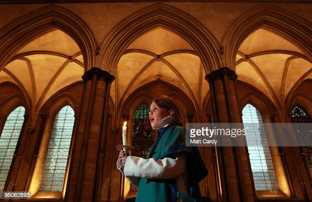 A chorister from the Salisbury Cathedral Choir practices a solo ahead of the services that will be held tomorrow in the Cathedral marking Christmas...