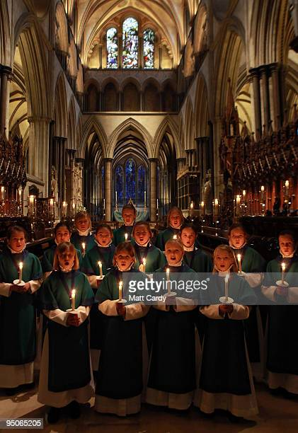 Choristers from the Salisbury Cathedral Choir practice ahead of the services that will be held tomorrow in the Cathedral marking Christmas Eve on...