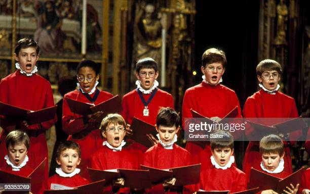 Choristers of Westminster Abbey perform in London at Christmas 1999