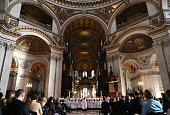 Choristers sing in St Paul's Cathedral during a thanksgiving service at St Paul's Cathedral on November 27 2014 in London England The service was...