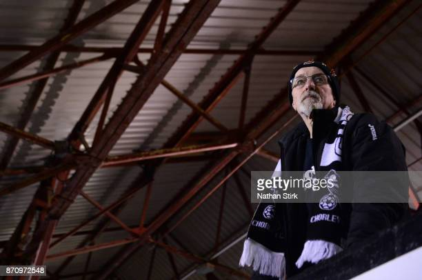 Chorley fan looks on before The Emirates FA Cup First Round match between Chorley and Fleetwood Town at Victory Park on November 6 2017 in Chorley...