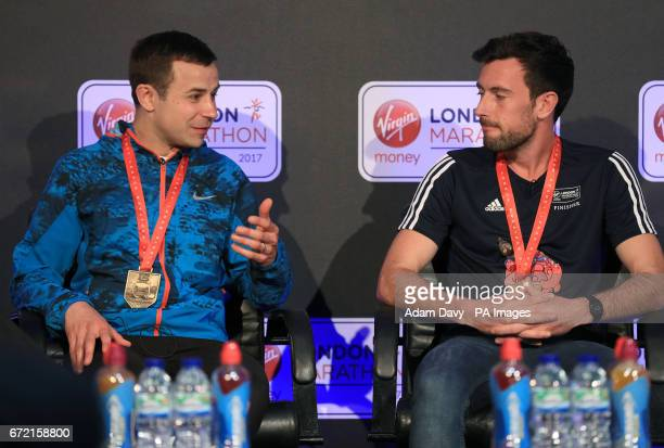 Chorlton Runners' David Wyeth and Swansea Harriers' Matthew Rees during a press conference at The Tower Bridge Hotel London Wyeth was struggling to...