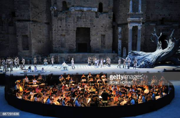 Chorus from French cities Nantes Toulon Tours and Avignon perform in 'Carmen' of composer Georges Bizet an opera conducted by Michel Plasson and...