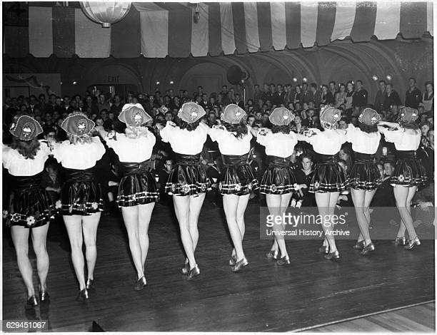 Chorus Girls Performing for Servicemen at Stage Door Canteen During World War II San Francisco California USA 1943