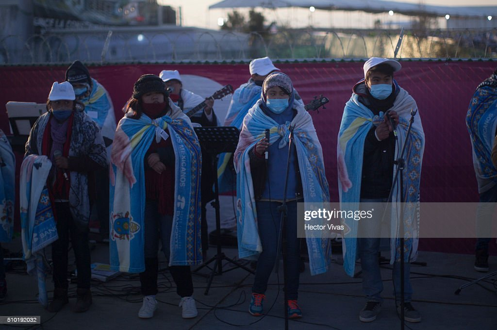 Chorus performs during a mass for the people at Ecatepec on February 14, 2016 in Ecatepec, Mexico. Pope Francis is on a five-day visit in Mexico from February 12 to 17 where he is expected to visit five states.