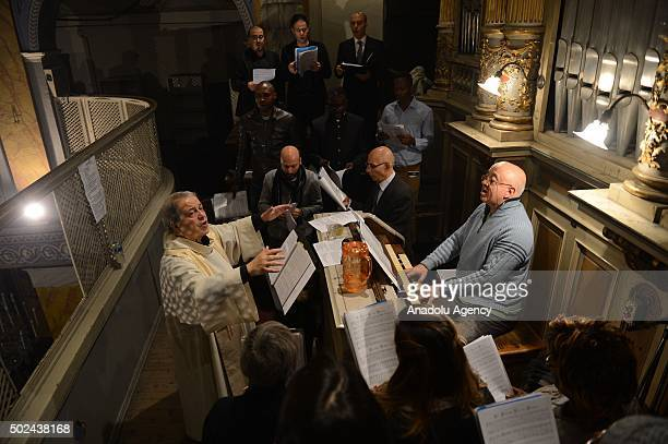 Chorus team sing rhymes during the vigil mass for Christmas at the Roman Catholic cathedral of Istanbul Holy Spirit on December 25th 2015 in Istanbul...