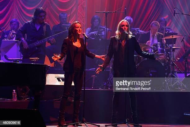 Chorussingers Salome Stevenin and Christaline perform during the Laurent Gerra Show at Palais des Sports on December 27 2014 in Paris France