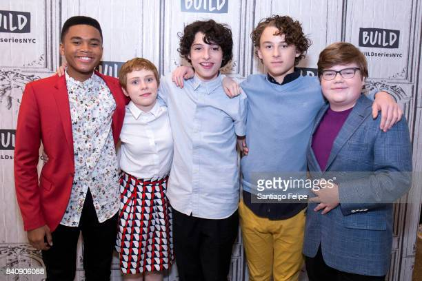 Chosen Jacobs Sophia Lillis Finn Wolfhard Wyatt Oleff and Jeremy Ray Taylor attend Build Presents to discuss the film 'IT' at Build Studio on August...