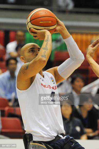 Choudhry Ghazain of Great Britain in action during the Wheelchair Basketball World Challenge Cup match between Great Britain and Japan at the Tokyo...
