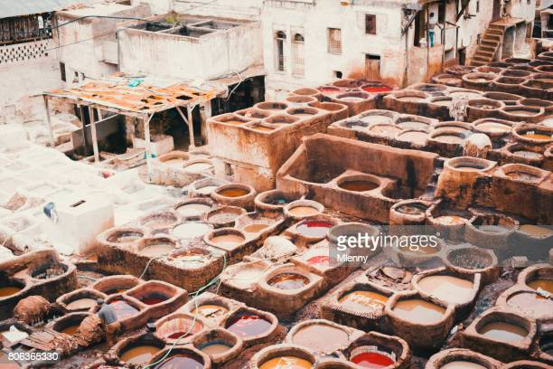 Chouwara Fez Medina Leather Tannery Fes Morocco North Africa