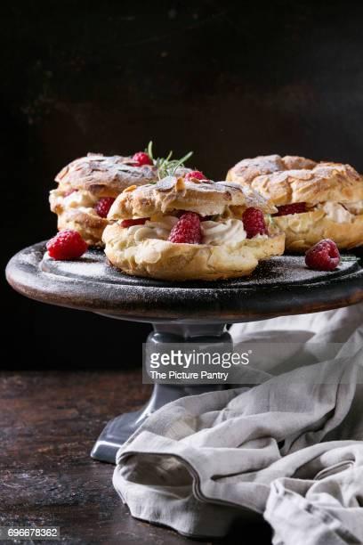 Choux cake Paris Brest with raspberries