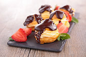 choux pastry with cream and chocolate
