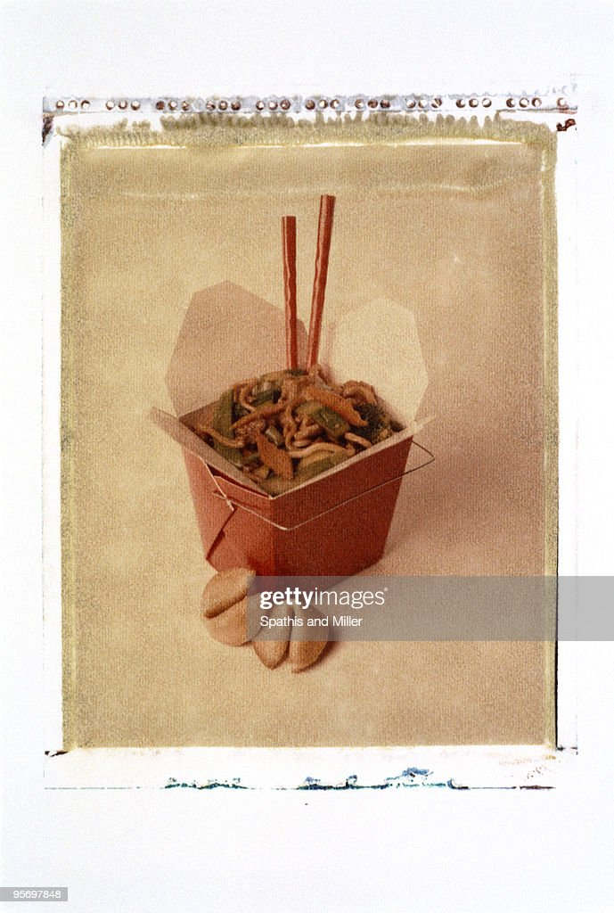 Chow Mein in takeout box : Stock Photo