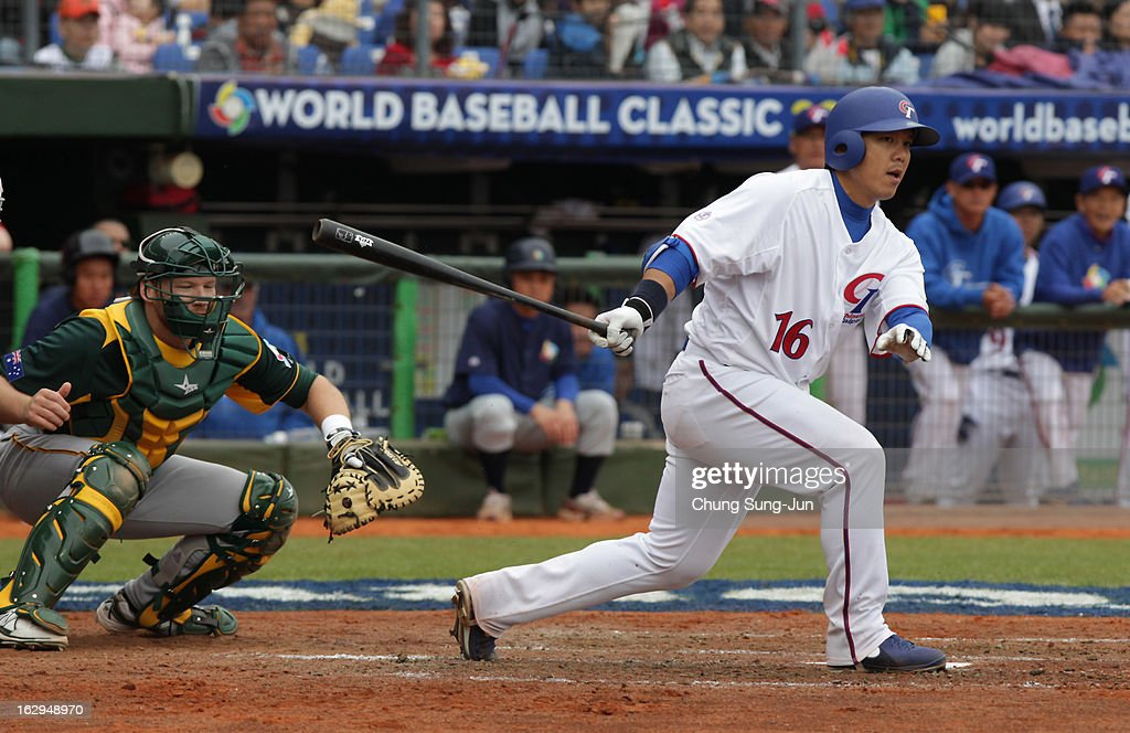 Chow Szu-Chi of Chinese Taipei bats in the fifth inning during the World Baseball Classic First Round Group B match between Australia and Chinese Taipei at Intercontinental Baseball Stadium on March 2, 2013 in Taichung, Taiwan.