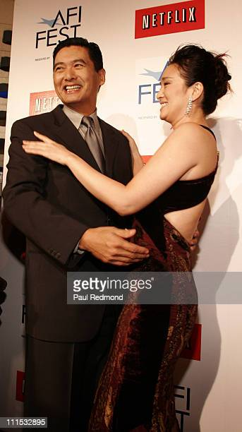 Chow Yun Fat and Gong Li during AFI Fest 2006 Presented by Audi Closing Night Gala Presentation of Zhang Yimou's 'Curse of the Golden Flower' at...