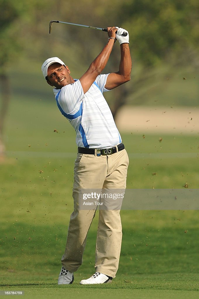 P. Chowrasia of India in action during day 3 of the Avantha Masters at Jaypee Greens Golf Course on March 16, 2013 in Noida, India.