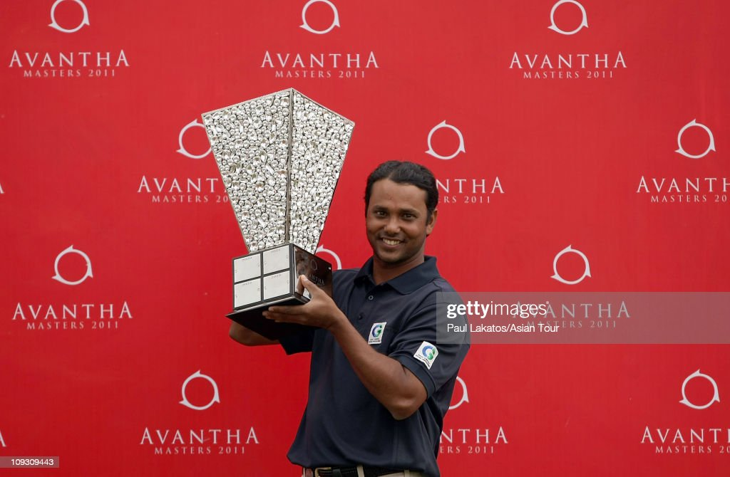 Chowrasia of India pictured with the Advantha Masters 2011 winners trophy after the final round of the Avantha Masters at the DLF Golf and Country...