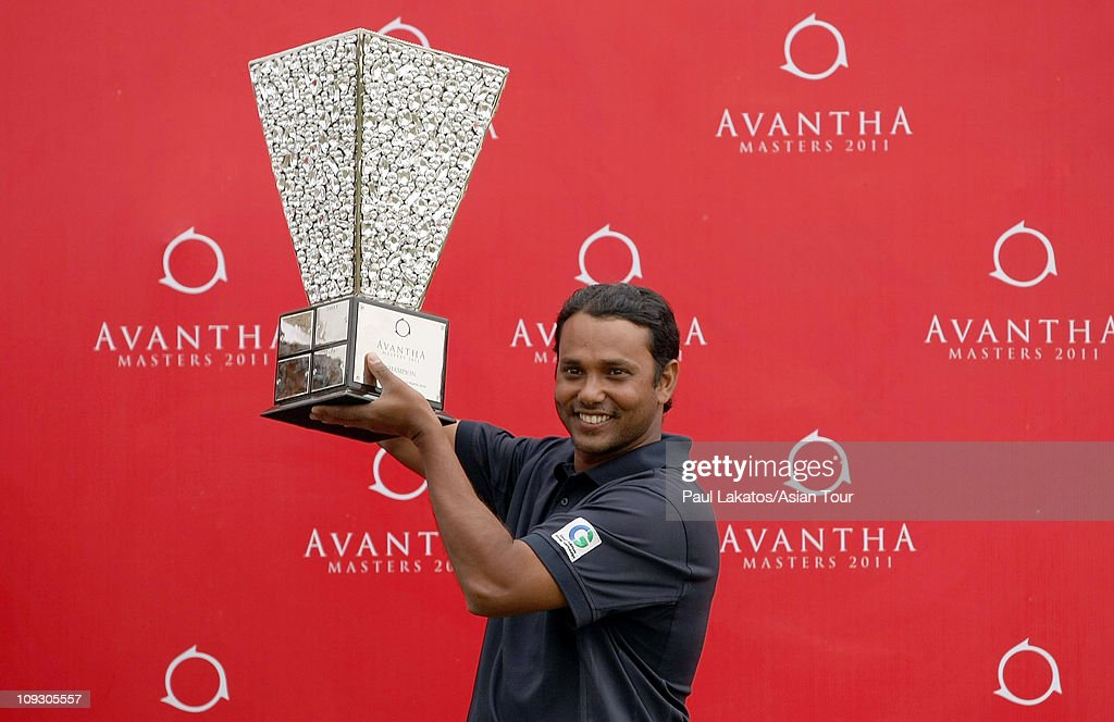 Chowrasia of India pictured with the Advatha Masters 2011 trophy the final round of the Avantha Masters at the DLF Golf and Country Club on February...