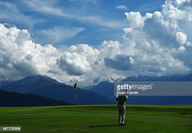 Chowrasia of India plays a shot during the first round of the Omega European Masters at CranssurSierre Golf Club on July 23 2015 in CransMontana...