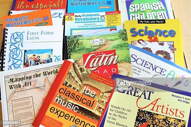 Chrildren's schoolbooks in math, science, music, spanish, latin and grammar.