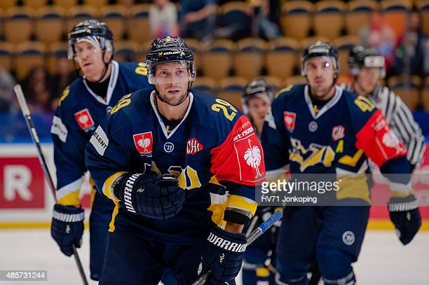 Chris Abbott of HV71 after scoring during the Champions Hockey League group stage game between HV71 Jonkoping and SonderjyskE Vojens on August 29...