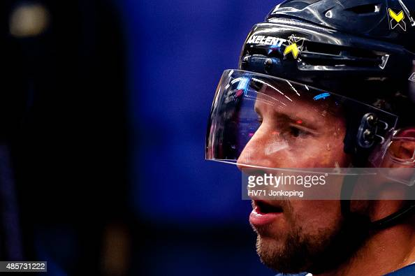 Chris Abbott of HV71 during the Champions Hockey League group stage game between HV71 Jonkoping and SonderjyskE Vojens on August 29 2015 in Jonkoping...