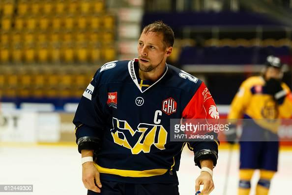 Chris Abbott of HV71 Jonkoping is seen during the Champions Hockey League Round of 32 match between HV71 Jonkoping and Lukko Rauma at Kinnarps Arena...