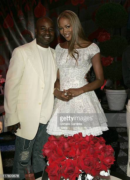 Chris Aire and Naomi Campbell during Disney's Alice in Wonderland Mad Tea Party at Private Residence in Los Angeles California United States