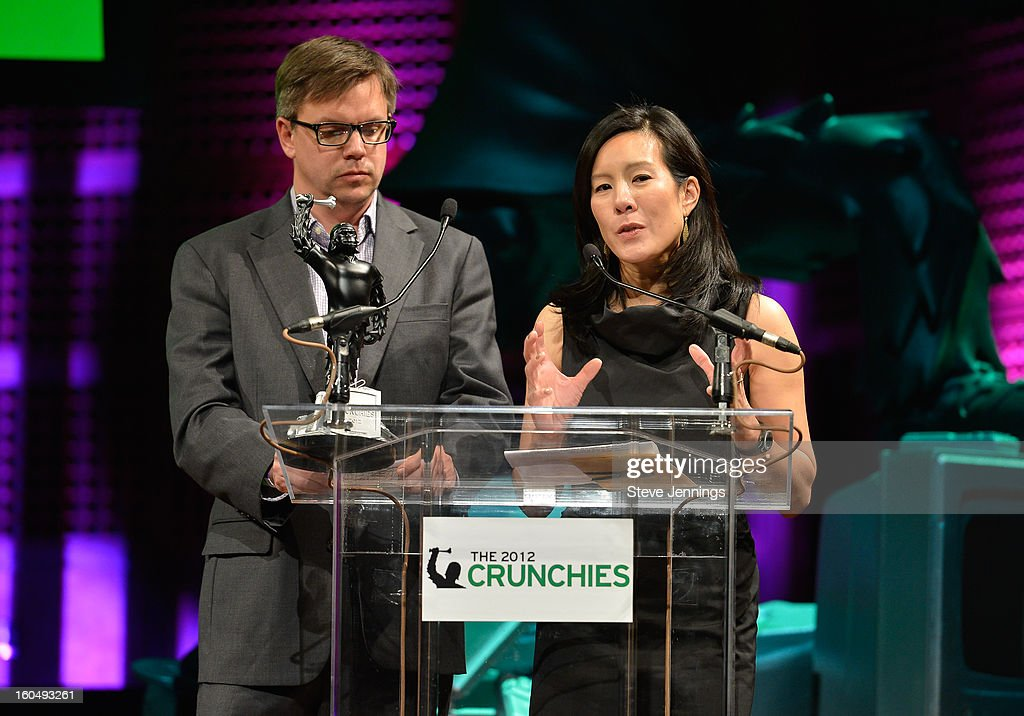 Chris Albrecht and Aileen Lee present award at the 6th Annual Crunchies Awards at Davies Symphony Hall on January 31, 2013 in San Francisco, California.