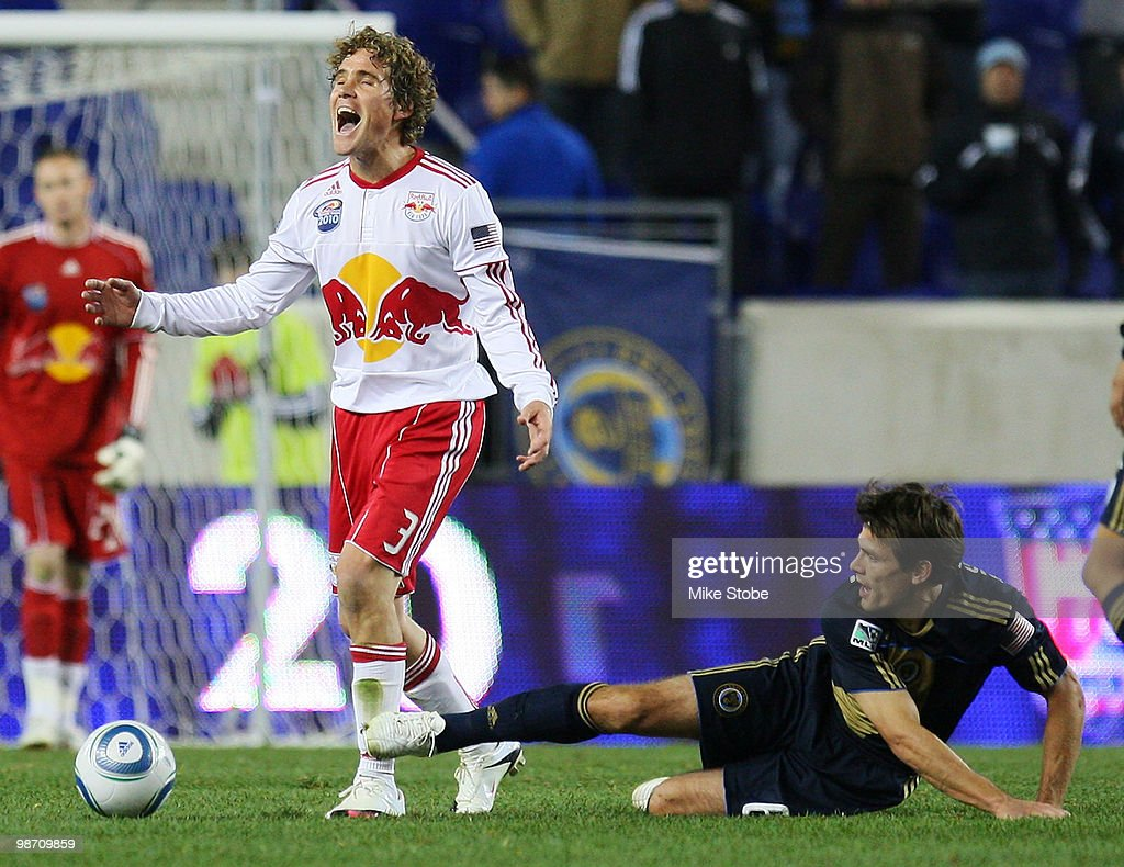 <a gi-track='captionPersonalityLinkClicked' href=/galleries/search?phrase=Chris+Albright&family=editorial&specificpeople=178253 ng-click='$event.stopPropagation()'>Chris Albright</a> #3 of the New York Red Bulls reacts to a call against the Philadelphia Union during the US Open Cup qualifying match on April 27, 2010 at Red Bull Arena in Harrison, New Jersey. Red Bulls defeated the Union 2-1.