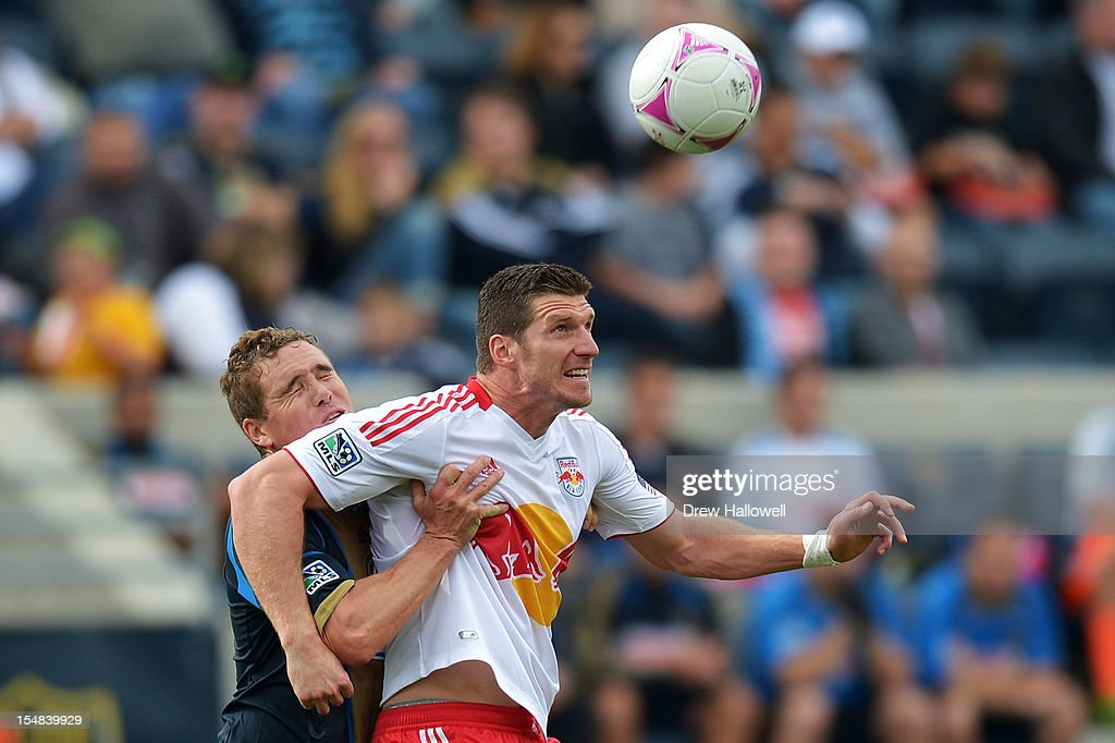 <a gi-track='captionPersonalityLinkClicked' href=/galleries/search?phrase=Chris+Albright&family=editorial&specificpeople=178253 ng-click='$event.stopPropagation()'>Chris Albright</a> #3 of the Philadelphia Union and <a gi-track='captionPersonalityLinkClicked' href=/galleries/search?phrase=Kenny+Cooper&family=editorial&specificpeople=740251 ng-click='$event.stopPropagation()'>Kenny Cooper</a> #33 of the New York Red Bulls try to head the ball at PPL Park on October 27, 2012 in Chester, Pennsylvania.