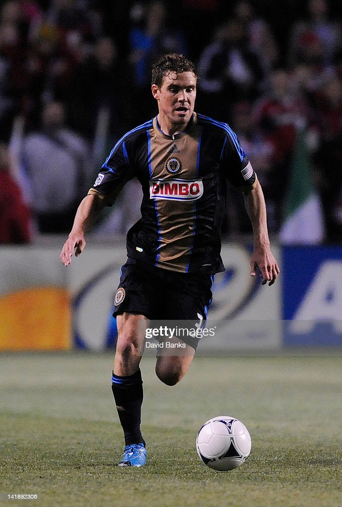 <a gi-track='captionPersonalityLinkClicked' href=/galleries/search?phrase=Chris+Albright&family=editorial&specificpeople=178253 ng-click='$event.stopPropagation()'>Chris Albright</a> #3 of the Philadelphia Union kicks the ball against the Chicago Fire in an MLS match on March 24, 2012 at Toyota Park in Bridgeview, Illinois. The Chicago Fire defeated the Philadelphia Union 1-0.