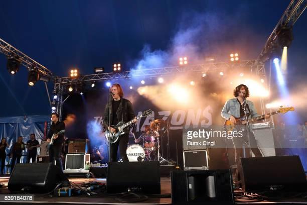 Chris Alderton Matt Thomson Joe Emmett and Elliot Briggs of The Amazons perform on day one of Reading Festival at Richfield Avenue on August 25 2017...