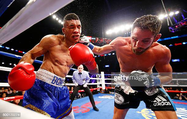 Chris Algieri lands a right to Erick Bone of Ecuador during their Welterweight bout on December 5 2015 in the Brooklyn borough of New York City
