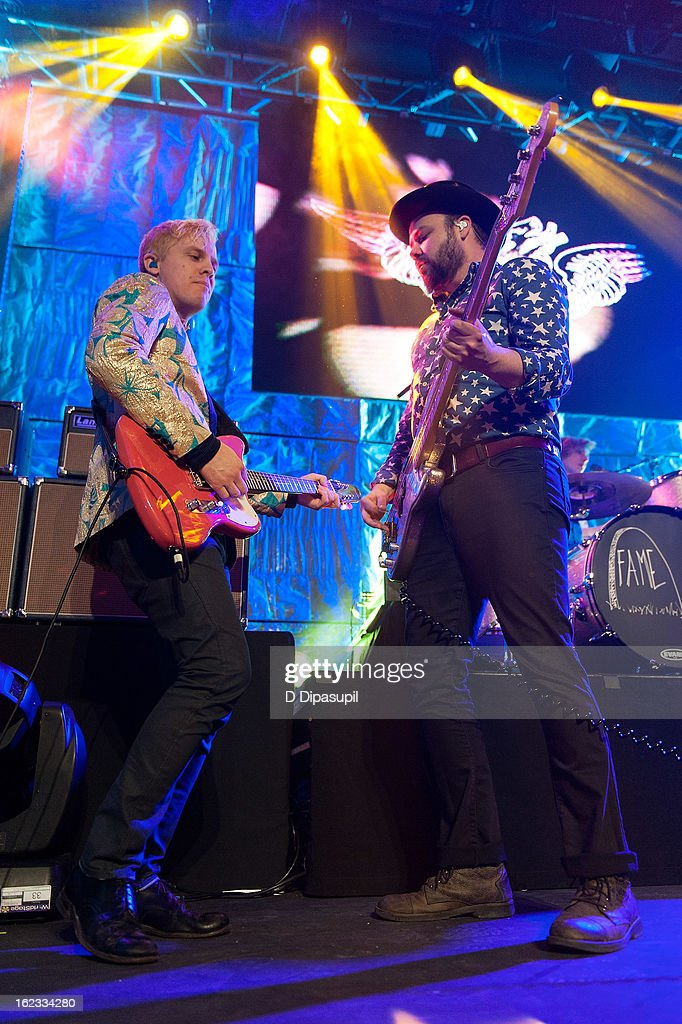 Chris Allen (L) and <a gi-track='captionPersonalityLinkClicked' href=/galleries/search?phrase=Branden+Campbell&family=editorial&specificpeople=5680344 ng-click='$event.stopPropagation()'>Branden Campbell</a> of Neon Trees perform on stage during The New Billboard 2013 launch event at Stage 48 on February 21, 2013 in New York City.