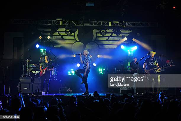 Chris Allen Elaine Bradley Tyler Glenn and Branden Campbell of Neon Trees perform at Revolution on July 9 2015 in Fort Lauderdale Florida