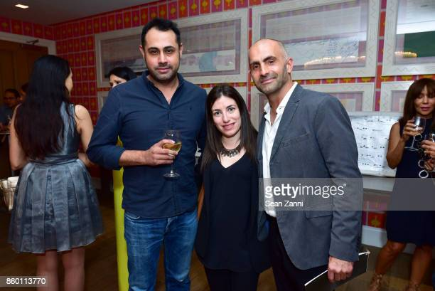 Chris Alvarado Jennifer Wallace and Artist Bill Claps attend the launch of The Collector Geneva's Sophie Bonvin Code Collection in Collaboration with...