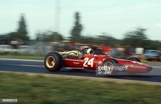 Chris Amon in his Ferrari 312 68 V12 at the French GP at Rouen 7 July 1968