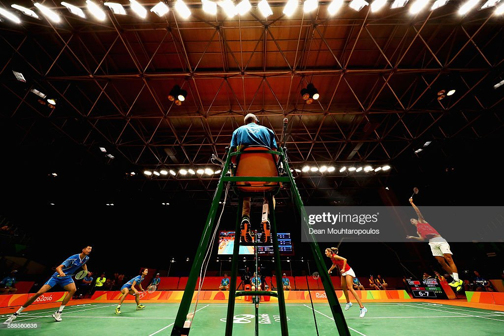 Chris and Gabby Adcock of Great Britain or Team GB compete against Ma Jin and Xu Chen of China in the badminton Mixed Doubles on Day 6 of the 2016...