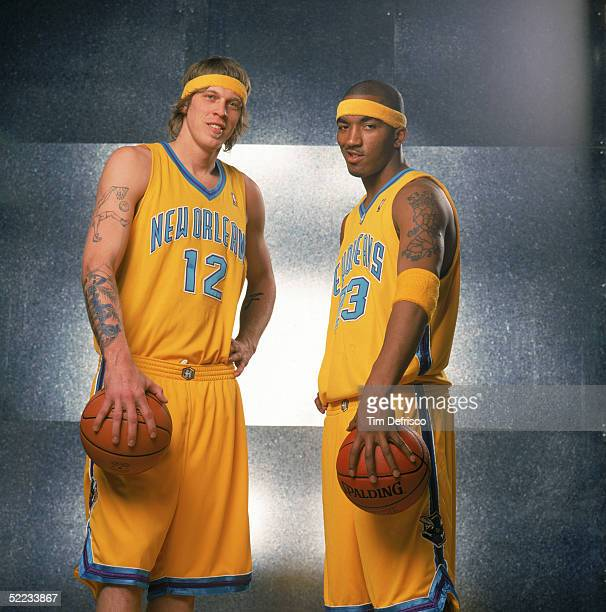 Chris Andersen and JR Smith of the New Orleans Hornets pose for a portrait prior to competing in the Sprite Rising Stars Slam Dunk contest during...